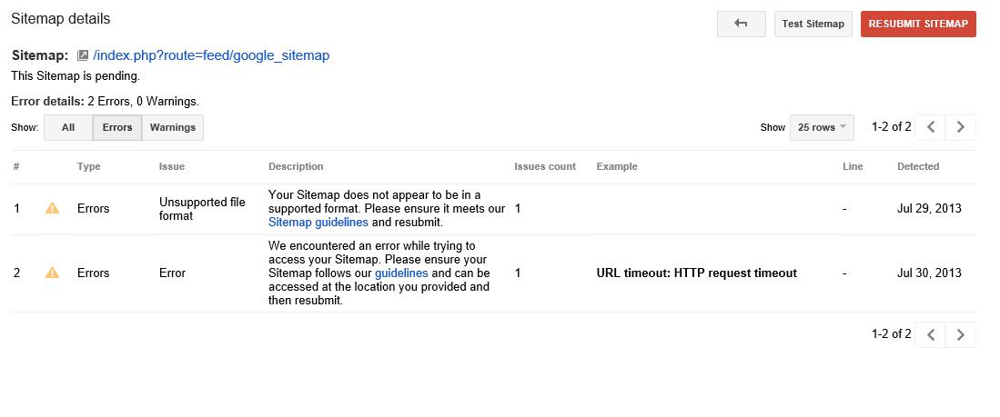 google sitemap issue opencart community